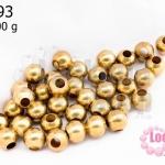 ลูกปัดทองเหลือง กลม 6มิล (1ขีด/100กรัม)