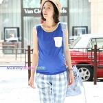 เสื้อพร้อมกางเกงคลุมท้องลายสก๊อต สีน้ำเงิน : SIZE L รหัส SH057