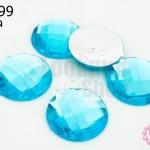 เพชรแต่ง กลม สีฟ้า ไม่มีรู 20มิล(10ชิ้น)
