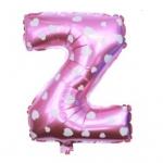 """ลูกโป่งฟอยล์รูปตัวอักษร Z สีชมพูพิมพ์ลายหัวใจ ไซส์เล็ก 14 นิ้ว - Z Letter Shape Foil Balloon Size 14"""" Pink color printing Heart"""