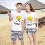 เสื้อคู่รัก ชุดคู่รักเที่ยวทะเลชาย +หญิง เสื้อยืดสีขาวลายยิ้ม I Love กางเกงขาสั้นลายไทย สีดำ +พร้อมส่ง+