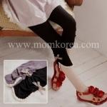 PK006 กางเกงเลคกิ้งคนท้อง สีดำ ขาสี่ส่วนปลายขาจะแต่งด้วยลูกไม้ ติดโบว์สก็อตสีน้ำตาล เนื้อผ้านิ่มมากๆ ช่วงเอวสามารถปรับระดับได้ค่ะ