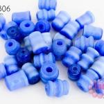 ลูกปัดแก้ว ตาแมว สีน้ำเงิน ทรงกระบอกเกลียว 7X8มิล (1ขีด/100กรัม)
