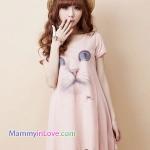 เสื้อคลุมท้องแขนสั้น ลายแมวญี่ปุ่น : สีชมพู รหัส SH039