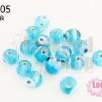 ลูกปัดแก้ว ลูกตา สีฟ้า 10 มิล (1ขีด/100กรัม)