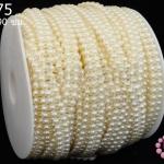 มุกพลาสติกเส้นยาว กลม2แถว สีครีม 9มิล (1หลา/90ซม)