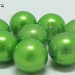 ลูกปัดมุก พลาสติก สีเขียว 20มิล (1ขีด/100กรัม)
