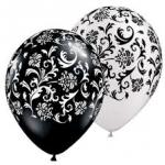 """ลูกโป่งกลมพิมพ์ลาย Damask Print Balloons (Black & White) แพ็คละ 10 ใบ(Round Balloons 12""""- Printing Damask Print Balloons (Black & White)"""