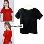 เสื้อแฟชั่น ผ้าฮานาโกะ สีดำ แบบสวยเก๋ แบบยอดนิยม สินค้าคุณภาพ ราคาไม่แพง