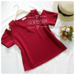 เสื้อแฟชั่นผ้าฮานาโกะ สีแดง รุ่นเว้าไหล่ แบบสวยชิคๆ เสื้อสีพื้น ใส่ง่าย ใส่สบาย เนื้อผ้าฮานาโกะคุณภาพดี