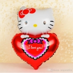 ลูกโป่งฟลอย์ Hello Kitty หัวใจ I Love You สีแดง - Hello Kitty I Love You heart Foil Balloon / Item No. TL-E022