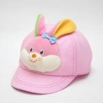 หมวกเด็ก หมวกแก๊ปเด็กเล็ก หมวกหน้าสัตว์ หน้ากระต่าย สีชมพู มีสายปรับขนาดหมวกด้านหลัง