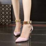 รองเท้าส้นสูงสไตล์เกาหลีสีชมพู