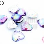 เพชรแต่ง หัวใจ สีม่วงเหลือบรุ้ง มีรู 14มิล(10ชิ้น)