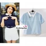 เสื้อแฟชั่น เสื้อทำงาน ผ้าฮานาโกะ สีฟ้า พาสเทล สดใส คอปกเก๋ๆ แบบยอดนิยม สินค้าคุณภาพ ราคาไม่แพง