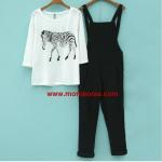 ชุดเอี็ยมคลุมท้อง เสื้อลายม้าลาย+ชุดเอี้ยมสีดำ