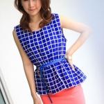 พร้อมส่ง ** เสื้อ Mix Berry Grid (blue)