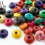 ลูกปัดไม้ จานบิน คละสี 10X5มิล (720เม็ด) 1 ขีด