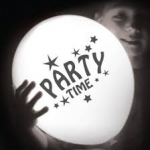 ลูกโป่งสีคละสี พิมพ์ลาย Party Time แพ็ค 5 ชิ้น ไฟกระพริบ (Party Time latex Balloon - LED RGB Mode)