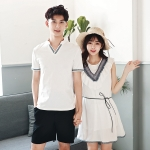 เสื้อคู่รัก แฟชั่นคู่รัก ชายเสื้อยืดคอวี + เดรสคอกลม สีขาว แต่งลายไทย +พร้อมส่ง