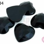เพชรแต่ง หัวใจ สีดำ ไม่มีรู 25มิล(10ชิ้น)
