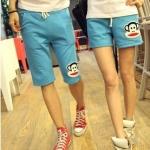 กางเกงคู่รัก ชาย + หญิงกางเกงขาสั้น เอวยางยืด แต่งสกรีนหน้าลิง กางเกงสีฟ้า +พร้อมส่ง+