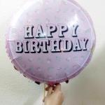 ลูกโป่งฟลอย์ Happy Birthday ทรงกลมสีชมพูพาสเทล - Foil Balloon Happy Birthday Round Shape / Item No. TL-D072