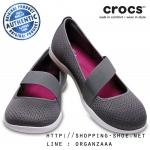 W8 (24.5 cm) : Crocs Swiftwater Flat - Smoke / White ของแท้ Outlet ไทยและอเมริกา