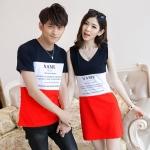 เสื้อคู่รัก ชุดคู่รัก พร้อมส่ง ชายเสื้อยืดลายสีกรมขาวแดง + หญิงเดรสแขนกุด สีกรมขาวแดง
