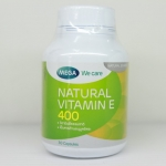 Mega We Care Natural Vitamin E 400 30 เม็ด ป้องกันริ้วรอย ให้ความชุ่นชื่น ชะลอการเสื่อมของเซลล์ ช่วยบำรุงผิวให้เนียนนุ่มชุ่มชื่น ลดริ้วรอยก่อนวัย