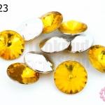 เพชรแต่ง กลม สีเหลืองทอง ไม่มีรู 16มิล(10ชิ้น)