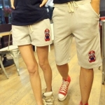 กางเกงคู่รัก ชาย + หญิงกางเกงขาสั้น เอวยางยืด แต่งสกรีนมาริโอ้ กางเกงสีขาว +พร้อมส่ง+