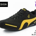ผ้าใบชาย Design ดีไซน์ รหัส DS9811 สีดำเหลือง เบอร์ 41-45