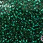 ลูกปัด MATSUNO ปล้องสั้น สีเขียวพาลเทล 2X2มิล(100กรัม)