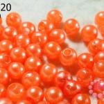 ลูกปัดมุก พลาสติก สีส้ม 6 มิล (1ขีด/100กรัม)