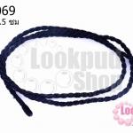 สร้อยคอเชือกถักเกลียว สีดำ 61.5ซม(1เส้น)