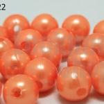 ลูกปัดมุก พลาสติก สีส้มอ่อน 10มิล (1ขีด/100กรัม)