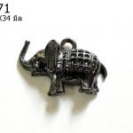 จี้รูปช้างสีรมดำ 24X34 มิล (1ชิ้น)