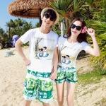 เสื้อคู่รัก ชุดคู่รักเที่ยวทะเลชาย +หญิง เสื้อยืดสีขาวลายคู่รักสวีทพระอาทิพย์ตกดิน กางเกงขาสั้นโทนสีเขียว +พร้อมส่ง+