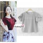 เสื้อผ้าแฟชั่นสวยๆ เสื้อทำงาน ทรงแขนกลีบบัว สีเทา ผ้าฮานาโกะ แบบสวยหวานๆสไตล์เกาหลี