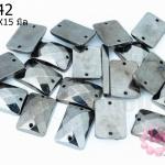 เพชรสอยสีรมดำ สี่เหลี่ยม2รู 14X15มิล (1ขีด/100กรัม)