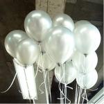 """ลูกโป่งกลมเนื้อเมททัลลิก สีเงิน ไซส์ 12 นิ้ว แพ็คละ 10 ใบ (Metallic Silver Latex Balloons Size 12"""")"""
