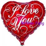 ลูกโป่งฟลอย์รูปหัวใจ พิมพ์ลาย I LOVE YOU บนลายกุหลาบแดง ไซส์ 18 นิ้ว - I Love You Heart Shape Foil Balloon / Item No.TL-E002