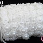 มุกพลาสติกเส้นยาว ดอกไม้ใหญ่ สีขาว 17มิล (1หลา/90ซม)