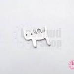 จี้รูปแมว สีโรเดียม 6x14 มิล (1ชิ้น)