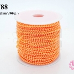 มุกพลาสติกเส้นยาว กลม สีส้ม 3มิล (1หลา/90ซม)