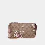 กระเป๋าสตางค์ COACH รุ่น LARGE WRISTLET 19 IN SIGNATURE CANVAS WITH FLORAL BUNDLE PRINT : F30025