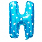 """ลูกโป่งฟอยล์รูปตัวอักษร H สีฟ้าพิมพ์ลายดาว ไซส์เล็ก 14 นิ้ว - H Letter Shape Foil Balloon Size 14"""" Blue color printing Star"""