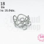 โครงแหวน โรเดียม ดอกไม้ ไซส์แหวน 16.6ซม./เบอร์ 52 ความกว้างของดอก 20X21 มิล (1 วง)