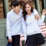 เสื้อกันหนาวคู่รักพร้อมส่ง แฟชั่นคู่รัก ชาย +หญิงเสื้อกันหนาวแบบสวม มีฮูด สีขาว แต่งลายใบไม้